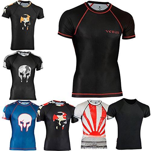 VERUS Rash Guards MMA Grappling Jiu Jitsu Training Gear Fight Wear Shirts UFC (Black/Warrior, XLarge) (Warrior Fight Gear)