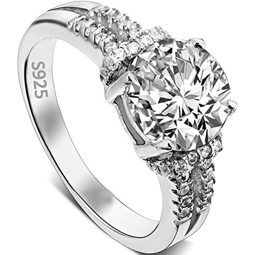 EVER FAITH 925 Sterling Silver 4 Claw Setting Round .79ct CZ Engagement Ring Clear - Size (Four Claw Setting)