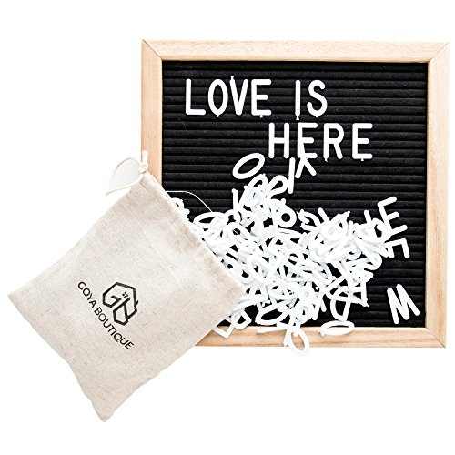 "Black Felt Letter Board 10x10 Inch By Goya Boutique: Square Letterboard With Changeable Characters For Quotes And Messages, 580 Tiles Of 3/4"" and 1"" With 2 Cotton Bags, With Stand For Home Decoration"