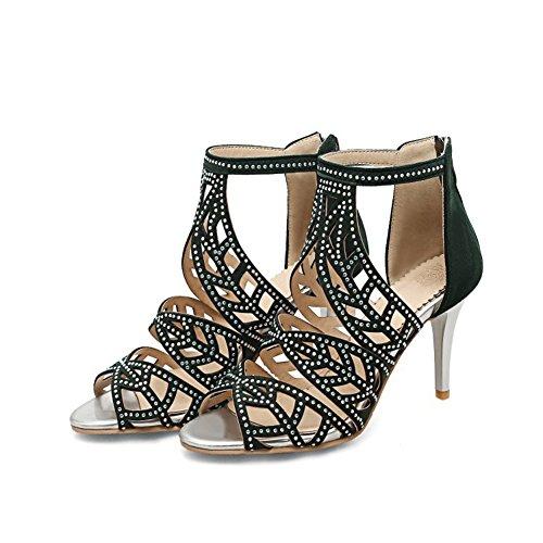 Sandalias de Negro Mujer sintética la 2018 Banquete y Rhinestone Peep Piel Mujer Zapatos Verano de de Tacón Toe de Blanco de de Boda el Aguja Verde de Noche para Confort xSEqYY5w
