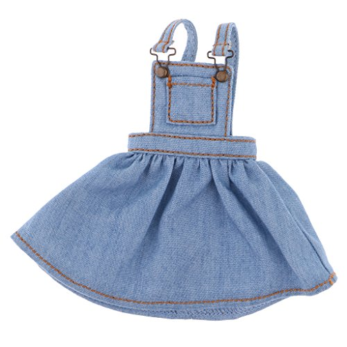 MonkeyJack Adorable Doll Pocket Designed Suspender Dress for 12 Takara Blythe Dolls Accessories Denim Blue