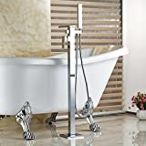 Rozin Waterfall Spout Bathtub Faucet with Handheld Shower Floor Mounted