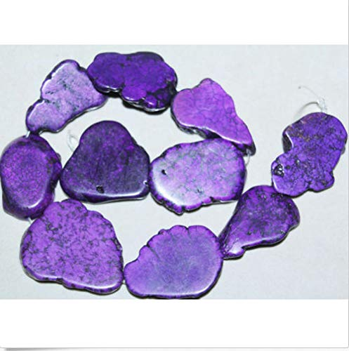 (FidgetKute Purple Turquoise Flat Slab Nugget Freeform Beads 25x30-30x38mm 9pcs-12pcs 15' Show One Size )
