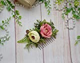 Pink ivory flower hair comb Bridal Bridesmaid floral hair accessory Summer wedding floral headpiece