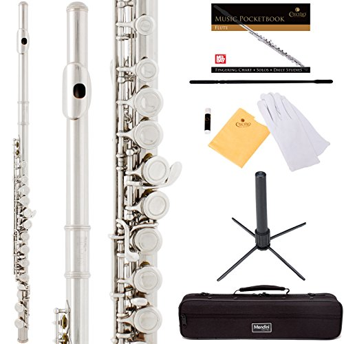 Mendini by Cecilio Premium Grade Silver Closed Hole C Flute with Stand, Book, Deluxe Case and Warranty, MFE-JS+SD+PB