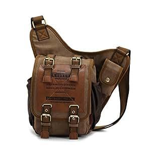 Kaukko ZZFH045100 - Bolsa cruzada para hombre (21 x 9 x 26 cm, con refuerzo), color marrón