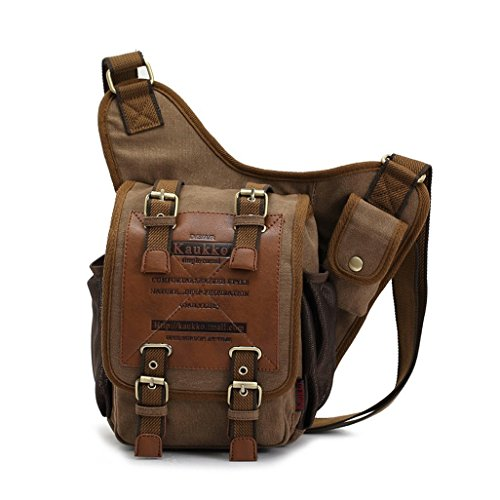 EconooLed Canvas Men Boys Classical Single Shoulder Cross Body Bag- Dark Khaki