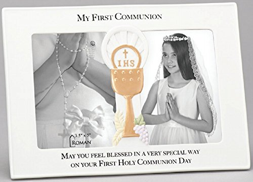My First Communion Chalice Ivory 10 x 7 Porcelain Side-by-Side Frame; Holds (2) 3.5 x 5 Inch Photos