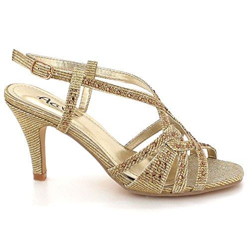 Sangle Cheville Or Brillant Fête Cristal Femmes Diamante Dames de Chaussures Soir de Sandales Bal mariée Taille Haut Talon Mariage De OHqPf