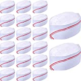 WILLBOND 20 Pack 3.2 inch Disposable Paper Chef Hat Set Adjustable Kitchen Cooking Chef Cap for Food Restaurants, Home Kitchen, School, Classes, Catering Equipment Or Birthday Party