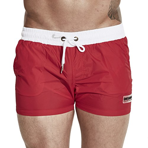 Funycell Men's Swim Trunks Beach Shorts with Pockets Red US S