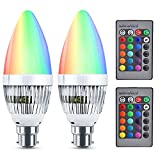 Bonlux B22 LED Colour Changing RGB Light Bulb Bayonet Dimmable 3W with IR Remote Controller 16 Multi Coloured Changing LED Light Bulb Mood Light Candle Bulb for Bedroom,Decorative Lighting,Party 2p