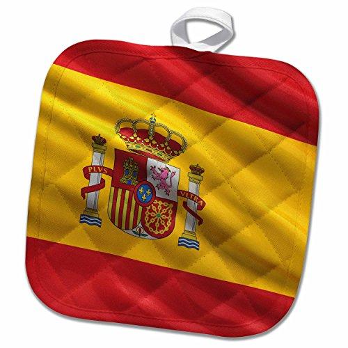 3D Rose Flag of Spain Pot Holder, 8 x 8'' by 3dRose