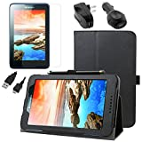 BIRUGEAR SlimBook Leather Folio Stand Case w/ Charger, Screen Protector for Lenovo IdeaTab A7-50 / A7-40 ( A3500 ) 7-inch A series Android Tablet ( Black )