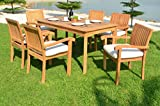 Grade-A Teak Wood 6 Seater 7 Pc Dining Set -60'' Rectangle Table And 6 Stacking Napa Arm Chairs #WFDSNP6