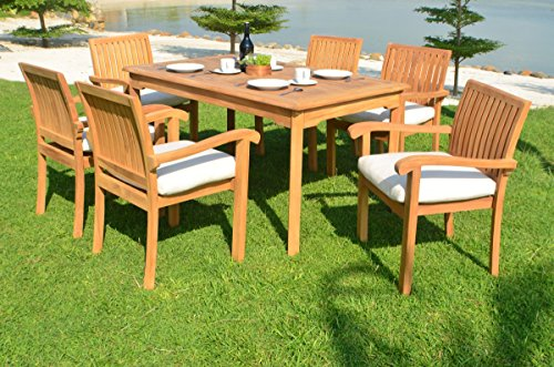Grade-A Teak Wood 6 Seater 7 Pc Dining Set -60'' Rectangle Table And 6 Stacking Napa Arm Chairs #WFDSNP6 by WholesaleTeakFurniture