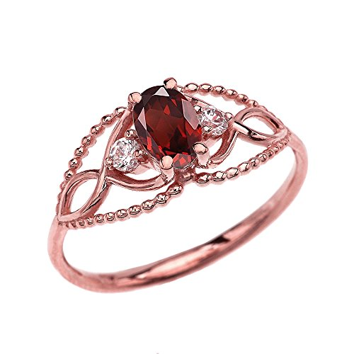 Dainty and Elegant Gold Rings 10k Rose Gold Elegant Beaded Solitaire Ring with Solitaire Garnet and White Topaz