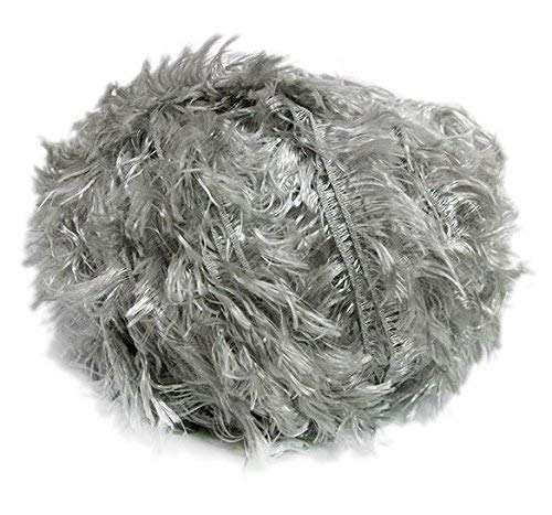 (Crystal Palace Splash #204 Silver - Feather Boa Short Eyelash Yarn 100 Gram 85 Yards)