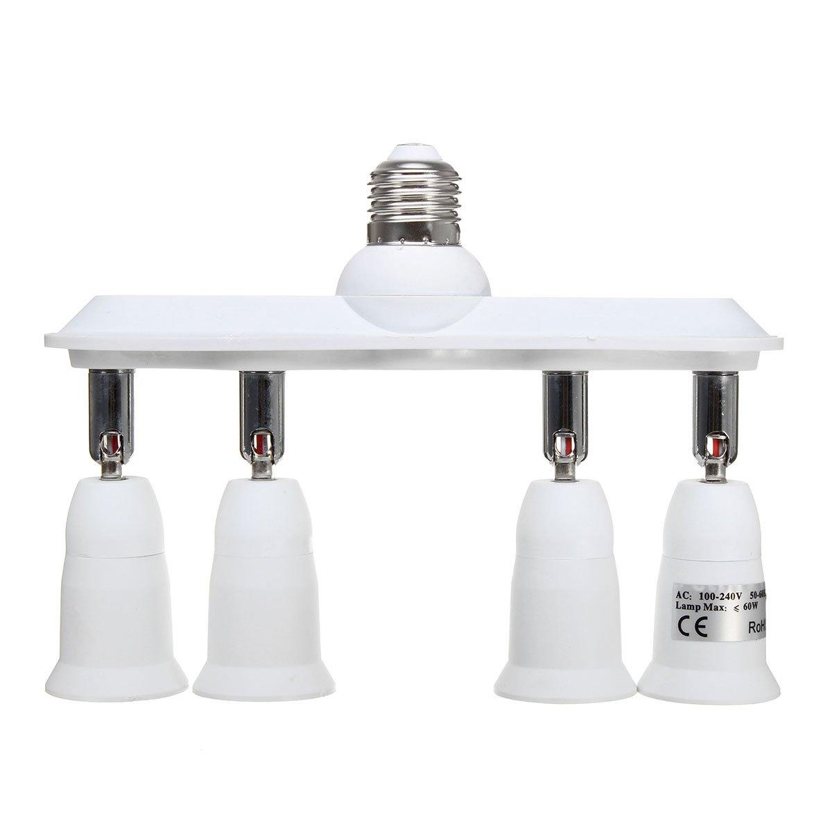 MAUBHYA 360 Degree Adjustable E27 to 4 E27 Light Bulb Socket Adapter Splitter AC110-230V