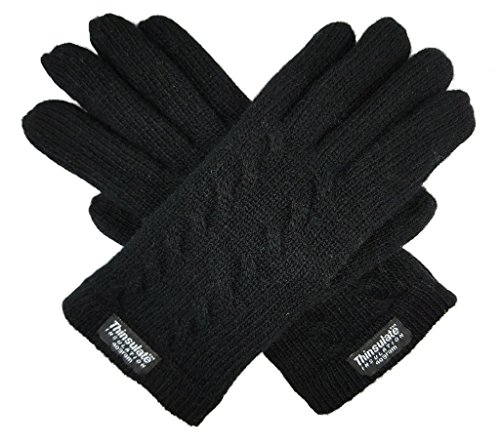 Bruceriver Ladie's Pure Wool Knitted Gloves with Double Twisted on Topside Size M (Black)