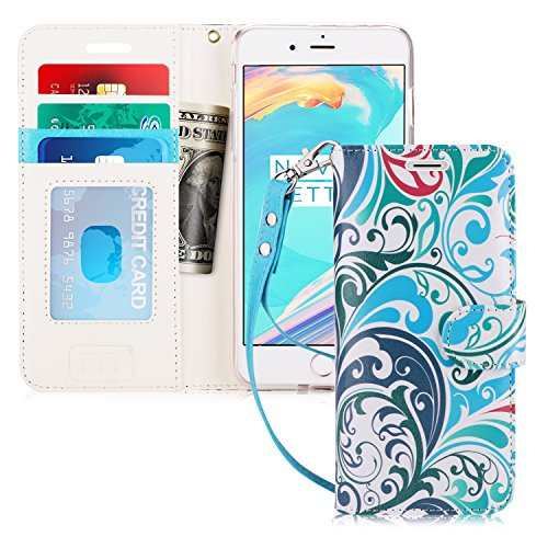 FYY Case for iPhone 8 Plus/iPhone 7 Plus,[Kickstand Feature] Luxury PU Leather Wallet Case Flip Folio Cover with [Card Slots] [Wrist Strap] for Apple iPhone 8 Plus 2017/7 Plus 2016 (5.5) Wave