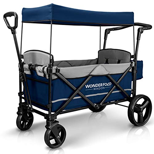 WonderFold Baby XL 2 Passenger Push Pull Twin Double Stroller Wagon with Adjustable Handle Bar, Removable Canopy, Safety Seats with 5-Point Harness, One-Step Foot Brake, Safety Reflective Strip (Navy)