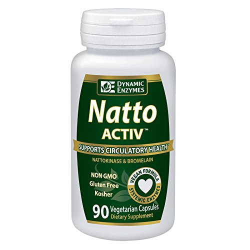 Natto ACTIV - 90 Vegan Capsules - Nattokinase - Heart Health - Promotes Normal Blood Coagulation - Systemic Enzymes - Dynamic Enzymes - Nattokinase 90 Capsules