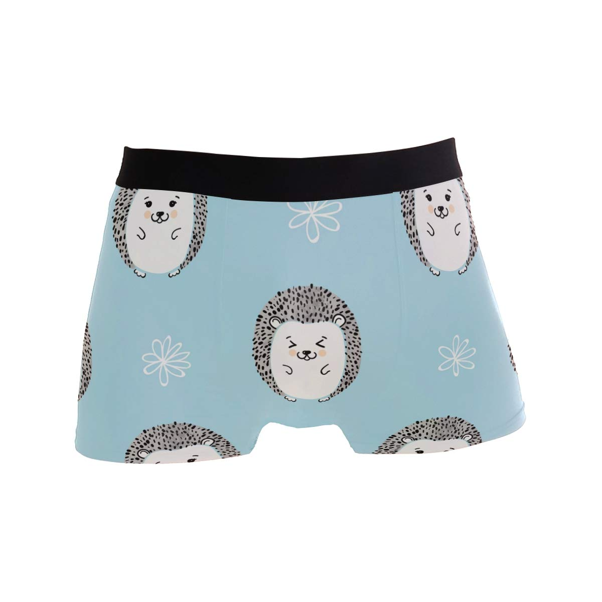 SUABO Men Boxer Briefs Polyester Underwear Men 2 Pack Boxer Briefs for Valentines Gift with Cute Hedgehogs Pattern