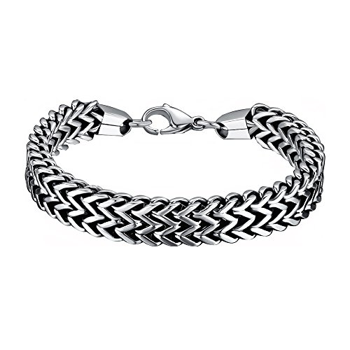 OneQuarter Mens Bracelets & Bangles Drop Shipping 512mm316L Stainless Steel Double Side Snake Chain Womens Bracelet Jewelry Gift pulseira (Stainless-Steel, 25)
