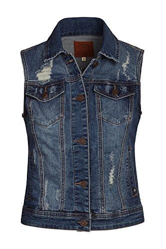 FASHION BOOMY Women's Classic Button Up Cropped Denim Jean Vest - Sleeveless Jacket - Regular and Plus Sizes (Medium, Blue_c) ()