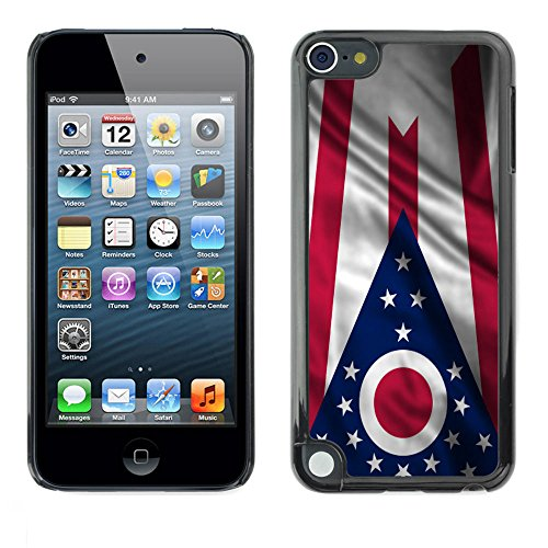 FJCases Ohio The Buckeye State Waving Flag Slim & Thin Hard Case Cover for Apple iPod Touch 5 (Ipod Touch 5 Cases Ohio State)