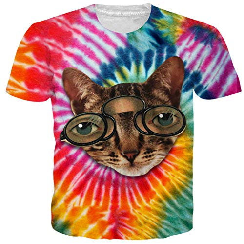Leapparel Unisex Men and Women a Funny Cat Face with Tie Dye Printed Hip Hop Humor Round Neck T Shirts Tees Tops XXL -