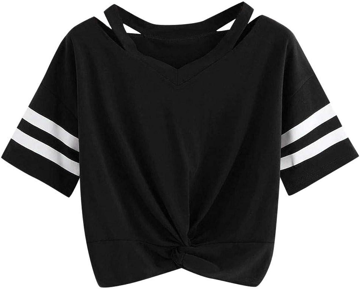 Camiseta de Mujer, Verano Slim Fit Manga Corta Impresión Blusa Sexy Cuello Rojoondo Camiseta Camisa Basica Camiseta Corta Tops Casual T-Shirt Sexy Original tee vpass: Amazon.es: Ropa y accesorios
