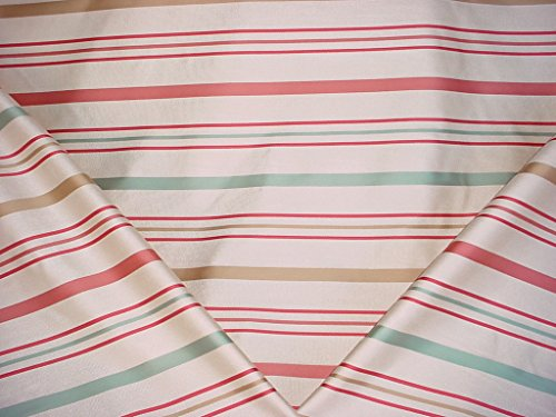 47H6 - French Blue / Cream / Pink / Rose / Sand Satiny Stripe Designer Upholstery Drapery Fabric - By the ()