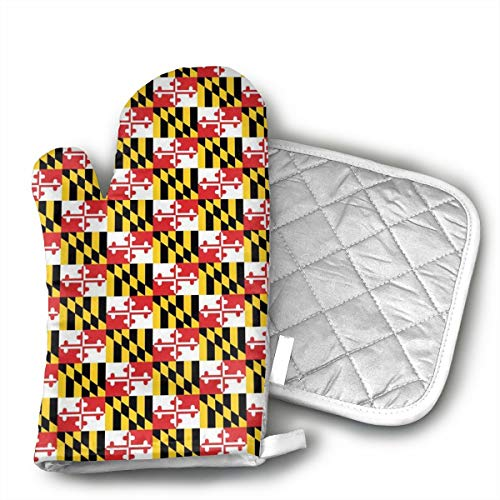 Maryland Flags Shaped Oven Mitts and Pot Holders Set of 2 for Kitchen Set with Cotton Non-Slip Grip, Heat Resistant, Oven Gloves for BBQ Cooking Baking, Grilling, Machine Washable (Maryland Grill Pad)