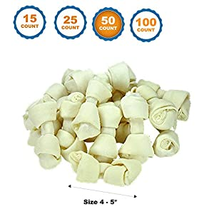 123 Treats 4-5 inch Rawhide Bones for Dogs | Premium Rawhide Bone Chews | Free Range Grass Fed Cattle with No Hormones, Additives or Chemicals (50)