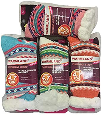 UK SHOE SIZE 4-7 3 PAIRS OF LADIES THERMAL EXTREME HOT WINTER WARM THICK SOCKS 4.7 TOG WITH SHERPA FLEECE LINING