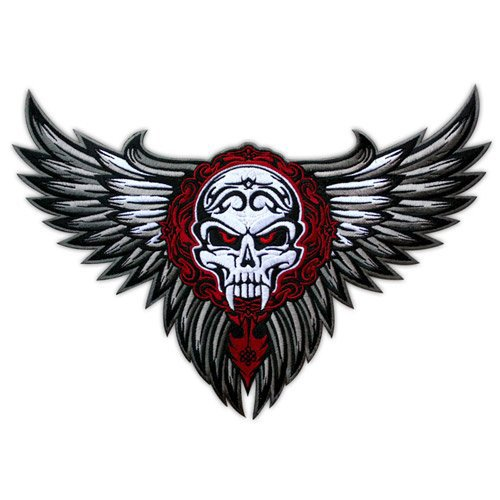 VEGASBEE WINGED SKULL WINGS TRIBAL TATTOO BIKER JACKET RIDER VEST EMBROIDERED PATCH SIZE - Tattoo Wing Skull