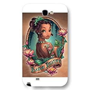 Customized White Disney Cartoon Princess And The Frog Samsung Galaxy Note 2 Case