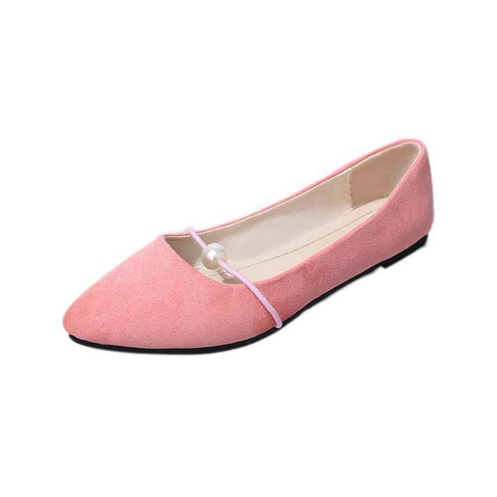 Creazrise Women's Solid Color Suede Flat Heel Pearl Flat Heel Pointed Casual Shoes Classic Pointy Toe Ballet Slip On Flats Shoes Pink