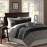 7 Pieces Luxury Micro Suede Charcoal Grey / Light Grey Striped Comforter Set / Bed-in-a-bag Queen Size Bedding