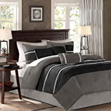 7 Pieces Luxury Micro Suede Charcoal Grey / Light Grey Striped Comforter Set / Bed-in-a-bag King Size Bedding