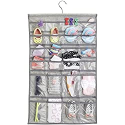 InterDesign Aldo Fabric Hanging Fashion Jewelry Organizer for Rings, Earrings, Bracelets, Necklaces - 48 Pockets, Gray