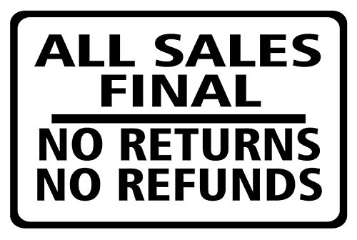 All Sales Final No Returns No Refunds Sign, 5
