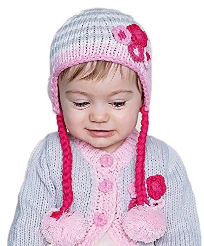 Fall Daisy Basket - Huggalugs Baby and Toddler Girls Grey Daisy Chain Beanie Hat Medium
