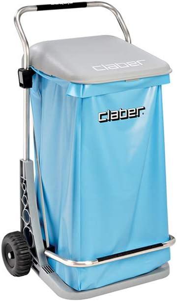 Papelera de jardín Claber sobre ruedas modelo confort acero inoxidable alta calidad apertura con pedal + bolsa para basura exterior de jardín: Amazon.es: Jardín