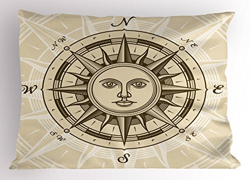 Compass Pillow Sham by Lunarable, Vintage Compass Rose with Sun Shape Human Face Historic Decorating Illustration, Decorative Standard King Size Printed Pillowcase, 36 X 20 Inches, Beige - Shape Illustration Face