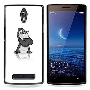 For OPPO Find 7 X9077 X9007 Case , Arte del pingüino Sketch Niños - Diseño Patrón Teléfono Caso Cubierta Case Bumper Duro Protección Case Cover Funda