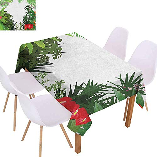 Lively Leaves Desk Topper - Rectangular Tablecloth Jungle Rainforest Vegetation Tropical Leaves and Flowers Lively Paradise Foliage Nature Table Decoration W50 xL80 Multicolor