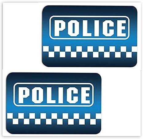 SkinoEu® 2 x PVC Laminado Pegatinas Adhesivos Logo Police Policía para Autos Coches Motos Ciclomotores Bicicletas Ordenador Portátil Regalo B 6: Amazon.es: Coche y moto